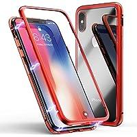 ZHIKE Funda para iPhone X/XS Funda de Adsorción Magnética Súper Delgada Marco de Metal de Vidrio Templado con Cubierta Magnética Incorporada para Apple iPhone 10/X/XS (Rojo Claro)