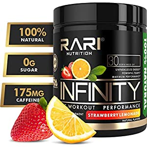 RARI Nutrition – Infinity Pre Workout Powder – Natural Preworkout Supplement for Men and Women – Keto and Vegan Friendly – No Creatine – 30 Servings – (Strawberry Lemonade)