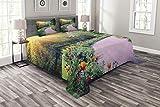 ABAKUHAUS Garten Tagesdecke Set, Keukenhof Niederlande, Set mit Kissenbezügen Sommerdecke, für Doppelbetten 264 x 220 cm, Mehrfarbig