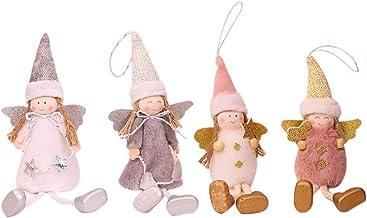 4 Pcs Cute Plush Girl Angel Pendant Decoration Xmas Tree Doll Ornament Christmas Hanging Decor Baubles
