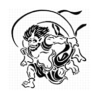 風神 シルエット ステッカー (白:ホワイト)