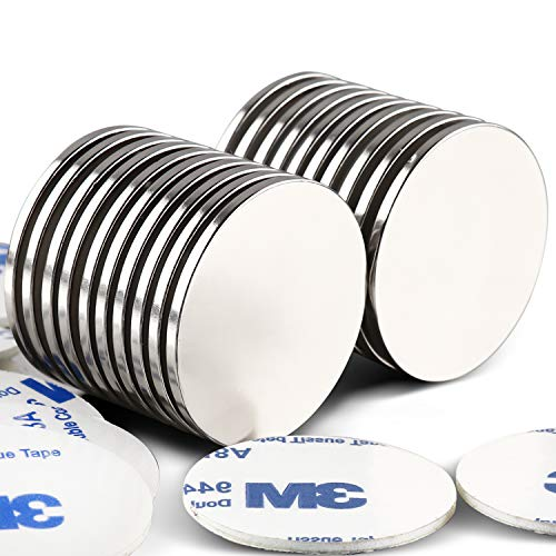 LOVIMAG Strong Neodymium Disc Magnets with Double-Sided Adhesive Powerful Rare Earth Magnets, Perfect for Fridge, DIY, Building, Scientific, Craft, and Office, 1.26 inch x 0.08 inch - Pack of 20