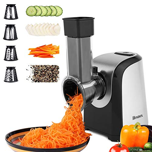 Homdox Electric Slicers, Professional Salad Maker, 150W Electric Slicer Shredder/Graters with One-Touch Control and 4 Free Attachments for fruits, vegetables, and cheeses (US STOCK)