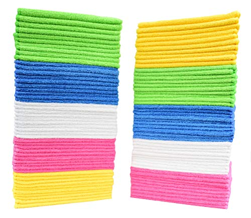 Simpli-Magic 79130 Microfiber Cleaning Cloths (Pack of 50) Large Size Ideal for Home, Kitchen, Auto, Glass and Pets 5 Colors Included,Blue/Yellow/Green/White/Pink
