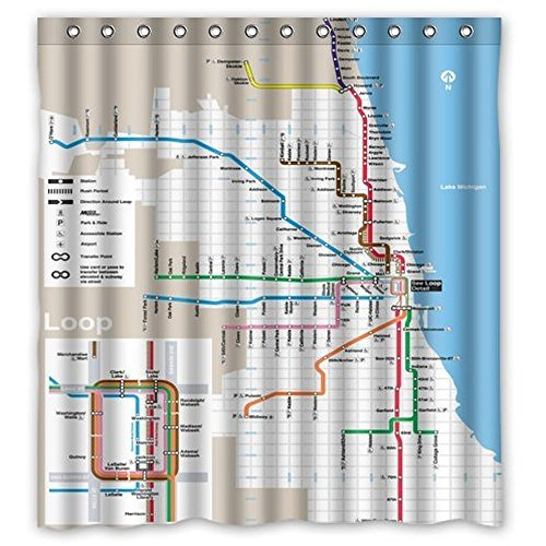Anzona Classic Chicago Subway Map Pattern Bathroom Polyester Shower Curtain (72'' x 72'', Chicago)