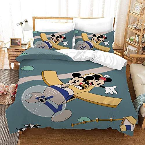 XZHYMJ Disney Mickey & Minnie Mouse Juego de Ropa de Cama para niños - Funda nórdica Animados Juego de Ropa de Cama para niños Adultos con Estampado de Anime 3D C1_Los 220X240CM