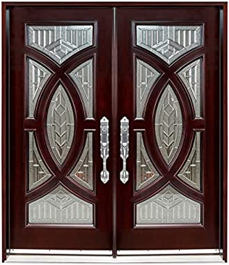"""Exterior Double Front Entry Doors 60""""x96"""" Left-Hand Open Prehung Finished"""