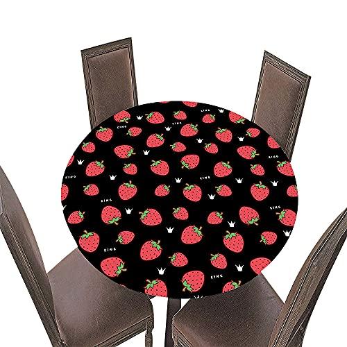 FANSU Impermeable Redondo Mantel con Borde Elástico, 3D Impresión Mantel de Mesa Elástica Ajustada Cubierta de Mesa para Picnic Comedor Cocina Restaurante Cena (Corona,Diámetro 90cm)