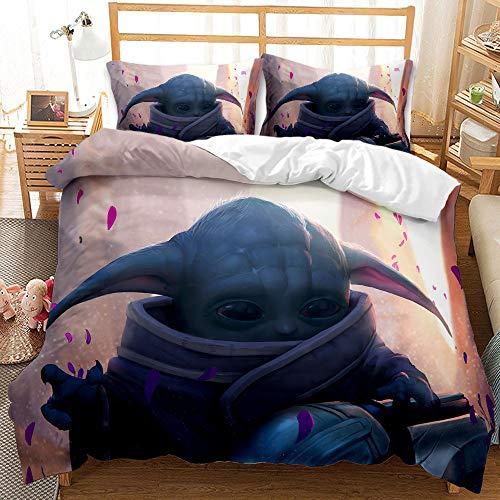 Juego de ropa de cama Baby Yoda funda nórdica + funda de almohada de microfibra con cremallera, ropa de cama (3, 220 x 240 cm (80 x 80 cm)