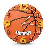 Hangess Basketball-Motiv, für Kinder, Jungen, Wanduhr, ideal für das Kinderzimmer, leise