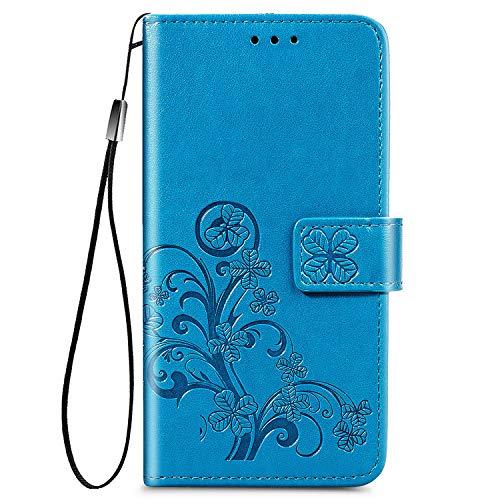 DESD070402 - Funda de piel tipo libro para Sony Xperia L4 (con función atril, cierre magnético, tarjetero), color azul