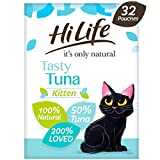 HiLife it's only natural - Natural Grain Free - Complete Wet Kitten Food (1 to 12 months) - Tasty Tuna Pate, 32 Pouches x 70g