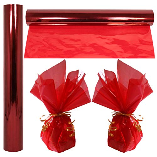 "Cellophane Wrap Roll Red | 100' Ft. Long X 16"" in. Wide 