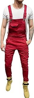 Mens Pocket Jeans Overall Jumpsuit Streetwear Overall Bib Slim Fit Denim Pants