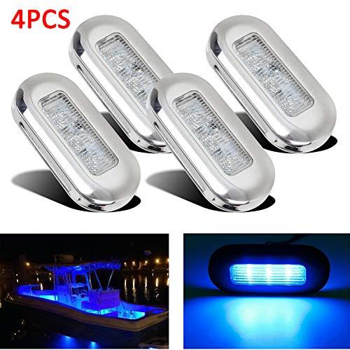ulofpc 4 luces LED rectangulares de cortesía para barco, escalera, cubierta de 12 V, impermeables, para RV, Yacht Garden, color azul, tamaño 3 x 1.29 x 0.4 inch