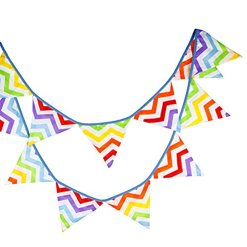 G2PLUS 10.8 Feet Colorful Fabric Bunting, Double Sided Pennant Flag Banners, Triangle Chic Garlands Decoration for Birthday Parties Ceremonies Kitchen Bedrooms