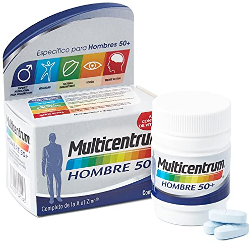 Multicentrum Hombre 50+ Complemento Alimenticio Multivitaminas con 13 Vitaminas y 11 Minerales, Alto Contenido de Vitamina D, Sin Gluten, 30 Comprimidos