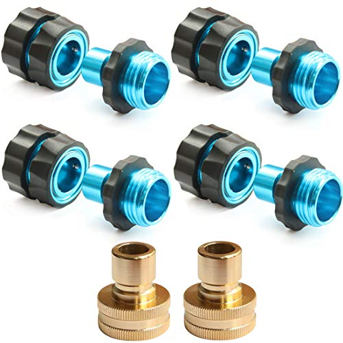 PLG Garden Hose Quick Connect Fittings Male and Female Hose Quick Connector,4 Set with 2 Faucet Adapter
