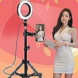 Dyf 6 Pulgadas lámpara anular teléfono del sostenedor 2m Suelo Aire trípode autofoto Belleza Luces LED vibrato de Anclaje
