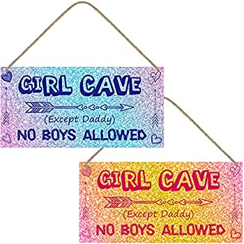 Jetec 2 Pieces Little Girl Cave Sign PVC Waterproof Girls Toddler Room Wall Decor No Boys Allowed Room Sign for Kids Girls Bedroom Nursery Door Decor 12 x 6 Inch