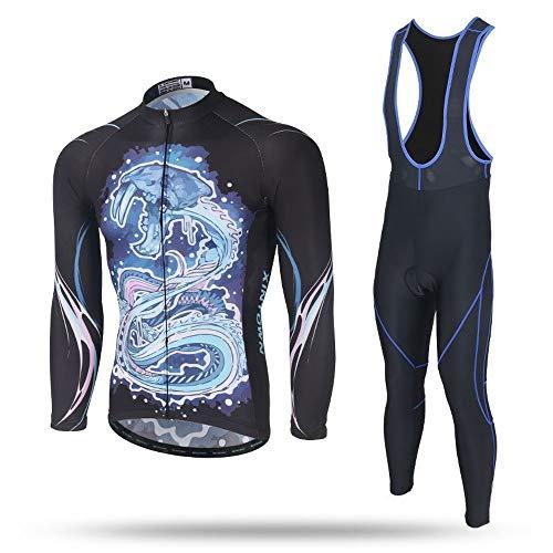 XINTOWN Uomo Sport e Tempo Libero Abbigliamento Ciclismo Magliette Manica Corta Mountain Bike per MTB Maglietta Vello Cinturino Set Manica Lunga Vento del Cranio (S,4)