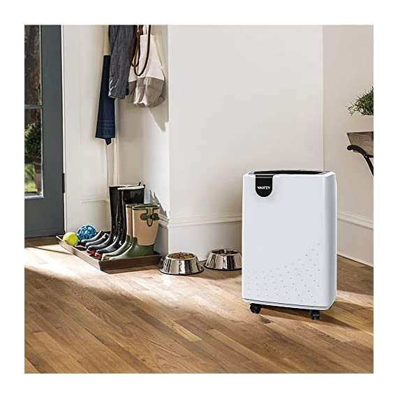 Yaufey 1500 sq. Ft dehumidifiers for home and basements, with continuous or manual drainage, intelligent control quietly… 6 professional and efficient dehumidification- with removal capacity of up to remove up to 32. 7 pints (under 95°f, 90%rh condition) of moisture per day. (please note: under 95°f, 90%rh condition, the max dehumidification capacity up to 32. 7 pints), it is an energy-efficient dehumidifier which is suitable for basement, home, bathroom, bedroom, garage, and other indoor spaces up to 1500 sq. Ft. Convenient and simple to use. Home appliances never need to be complicated, so our dehumidifier isn't. It features a light-touch intelligent control panel, which let you see the operating settings at a glance. Adjust to your ideal moisture setting, then let it run its continuous 24-hour cycle until the 1. 8l tank is full, at which point it will automatically shut-off. Tired of manual drainage? There's also a drain hose outlet for continuous draining. The 2-meter long drain hose is included. Multiple humanized features. You can select between regular and turbo fan speeds for optimal comfort. The low-noise design will get you far away from the disturbing noise when sleeping or studying. The removable and washable filter means easy maintenance — simply clean it regularly and then recycle. Program the 24-hour timer to suit your lifestyle and save energy costs. All of them can ensure you to have the best possible experience with our dehumidifier.