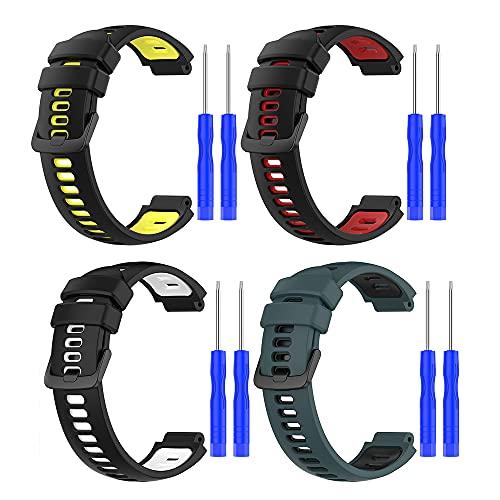 4 Pack Correa para Garmin Forerunner 235,Bandas Correa Repuesto,Correas Reloj, Silicona Reloj Brazalete Correa Repuesto Strap Wristband para Garmin Forerunner 220/230/ 620/630/735XT/235Lite (color 2)