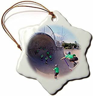 Queensland - Sequence of boy on Scooter, Esplanade Skate Park, Cairns, Australia - inch Snowflake Porcelain Ornament