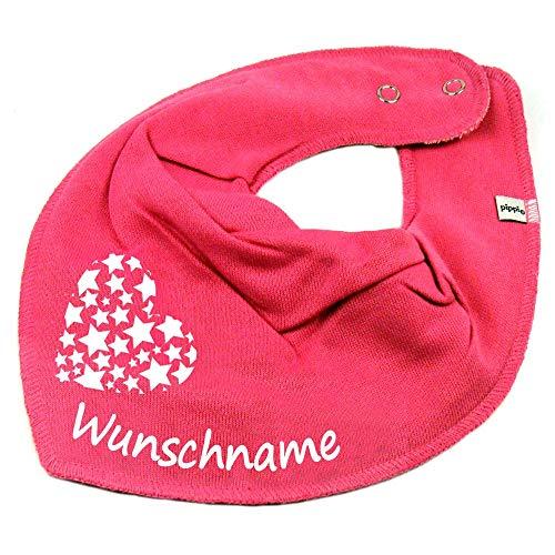 Elefantasie Elefantasie HALSTUCH Herz Sterne mit Namen oder Text personalisiert pink für Baby oder Kind