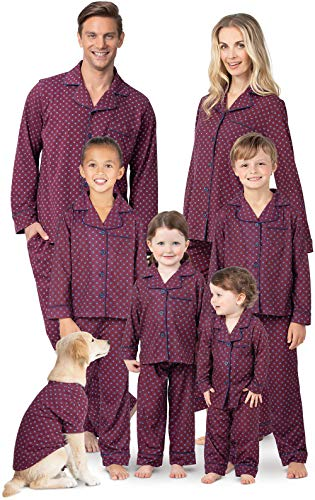 PajamaGram Matching Pajamas for Family - Button-Up, Red, Women's, M, 8-10