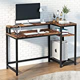 Tribesigns Computer Desk with Storage Shelves & Monitor Stand, PC Study Writing Desk, Industrial, Wood and Steel Frame, Workstations for Home Office (Vintage Brown)