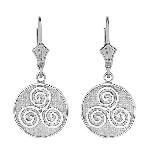 Sterling Silver Celtic Triple Spiral Triskele Leverback Earrings