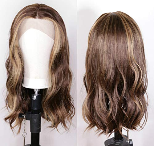 Women's Ombre Wigs Synthetic Lace Front Long Wavy Brown/Blonde Highlights Color 30#/27# Natural hairline 180% Density Balayage Hair Blonde Wig(24inch)