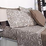 HomeLife Bettwäsche-Set, 100% Baumwolle, Bettlaken + Spannbetttuch + Kissenbezug mit Knöpfen für Doppelbett/Einzelbett/Einzelbett/Druck Floreal Beige/Taupe 1 Piazza - [1Piazza] beige