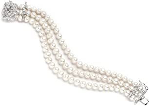 Mariell Genuine Freshwater Pearl 3-Strand Bridal Bracelet - Luxe 3-Row Pearl Bracelet with CZ Clasp