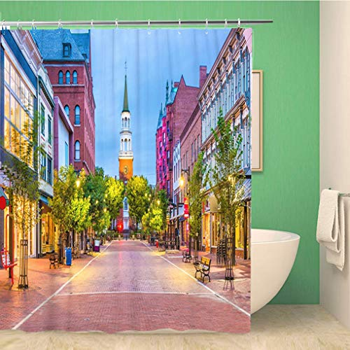 Awowee Bathroom Shower Curtain Town Burlington Vermont USA at Church Street Marketplace Scenery 72x72 inches Waterproof Bath Curtain Set with Hooks