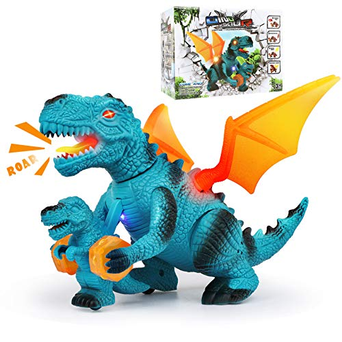 Jaolex Walking Dinosaur Toys with LED Lights and Sounds Dragon Figures for Boys and Girls 3 4 5 6 7 Year Old(Blue)