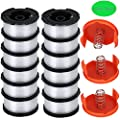 "TOPEMAI AF-100 Spool Compatible with Black & Decker AF-100-3ZP 0.065"" String Trimmer Line Replacement for GH900 GH600 String Trimmer (12 Spools + 3 Caps and Springs)"