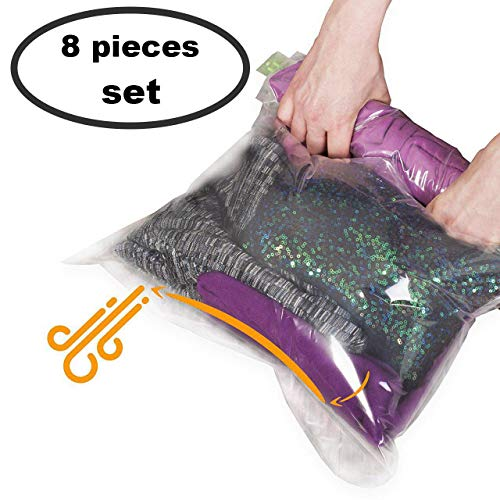 8 Travel Space Saver Bags - No Vacuum or Pump Needed - for Clothes - Reusable -...