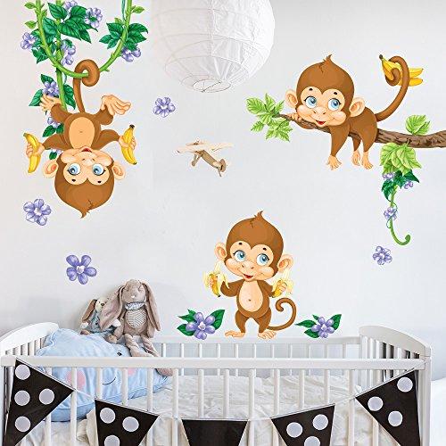 R00385 Pegatina Vinilo Pared Suave Efecto Tejido Decoración Niño Bebé Habitación Infantil Guardería Papel Pintado Autoadhesivo Monos