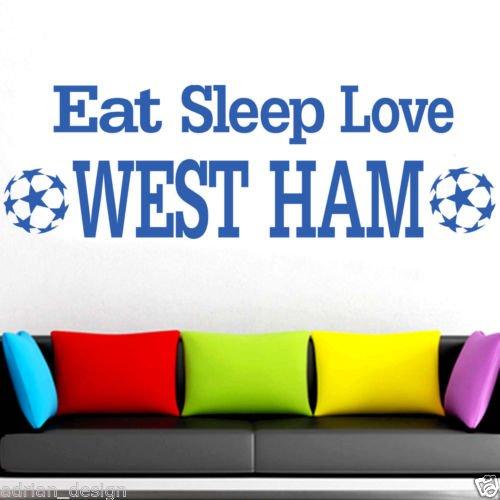 WEST HAM WALL STICKER, eet slaap liefde muursticker, voetbalclub -Medium -SIZE 90cm x 30cm (36
