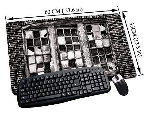 Alfombrilla Raton Gaming,Industrial, Ventana rota Cristal faltante Cristal abandonado Fábrica de brillos Pared de,Impermeable con base de goma antideslizante, PC y laptop comfortable mouse pad60x35 cm