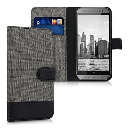 kwmobile Wallet Hülle kompatibel mit HTC One M8 / Dual - Hülle Kunstleder mit Kartenfächern Stand in Grau Schwarz