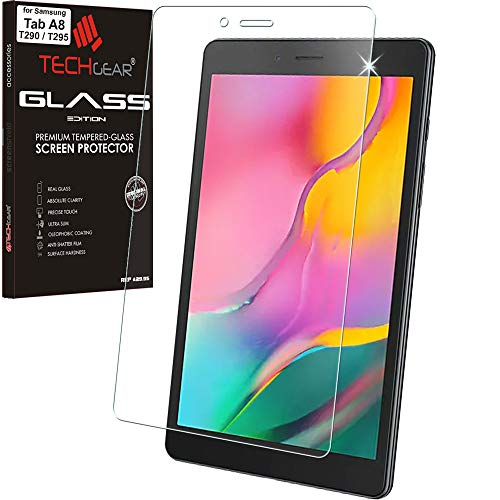 [2 Stück] TECHGEAR Galaxy Tab A8 2019 8.0 Zoll Panzerglas (SM-T290 /SM-T295) Bildschirmschutzfolie aus gehärtetem Glas [9H Festigkeit] [Crystal Clarity] kompatible mit Samsung Galaxy Tab A 8.0 2019