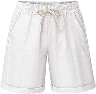 Women's Elastic Waist Casual Comfy Cotton Linen Beach Shorts with Drawstring