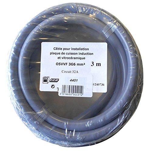 Gefom 4401 CABLE ELECTRIQUE 3G6MM2 HO5VV-F 3M pour installation plaque de cuisine induction ou vitroceramique, circuit 32A, Gris
