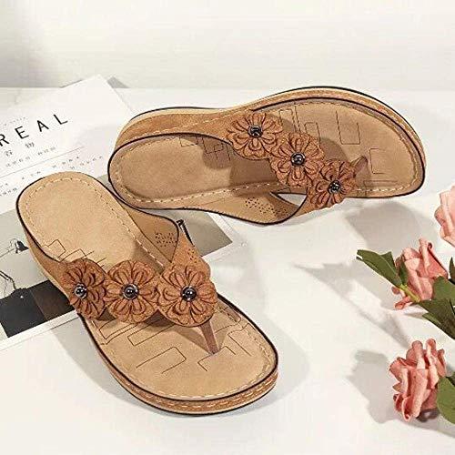 Fysy Sandali da donna con tacco medio alto, con fiore piatto punta rotonda da donna, infradito marrone_40, scarpe da spiaggia per piscina fangkai77