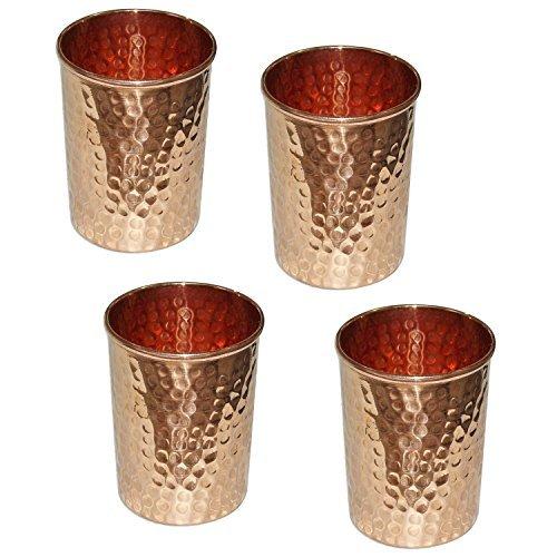 Zap Impex ® Vaso cobre vidrio martillado para la curación ayurvédica de...