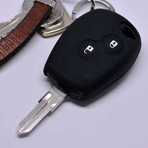 Soft Case Schutz Hülle Auto Schlüssel für Dacia DOKKER SANDERO Duster LODGY Logan Renault CLIO TWINGO 2 Tasten/Farbe Schwarz