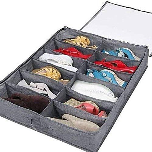 N\C Fach unter Bett Schuh Aufbewahrungstasche Große verstellbare Trennwände unter Bett Schuh Organizer mit strapazierfähigem Stoff klares Fenster für Schuhe Kleidung Spielzeug